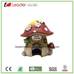Polyresin Venta caliente Mushroom Toad Estatua de la casa de decoración de jardín