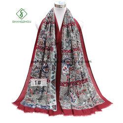 Scarf花によって印刷されるショールの厚いサテンの方法女性