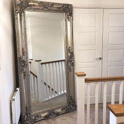 مرآة أرضية كبيرة منحوتة عتيقة على طراز لويس