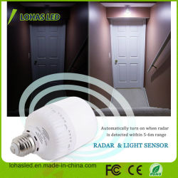 Movimiento Bombilla LED T60 T80 E27 B22 12W 20W Blanco luminoso del sensor de movimiento de Radar bombilla LED