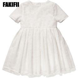 Großhandel Kinder Tragen Mode Kinder Kleidung Sommer Mädchen Weiße Blume Bequeme Babykleidung Mit Flockendem Netzkleid