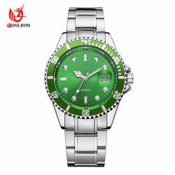 Calendário de moda de alto grau a tira de aço inoxidável para relógios de quartzo homens -V93