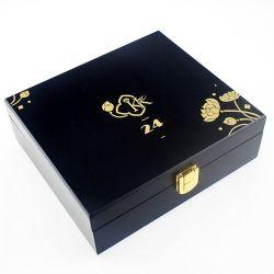 Commerce de gros Logo noir antique hot stamping Boîte d'emballage en bois