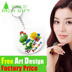 Personalisiertes Logo Fasional Design 2D/3D auf Beiden Seiten Weich-PVC-Gummi-Schlüsselbund für Werbegeschenk