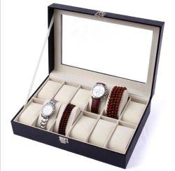 10 ranuras de cuero de PU de alta calidad Ver Caja de almacenamiento con forro de gamuza de primera clase, el Popular Mens Watch caja de embalaje