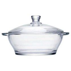 Hogar Heat-Resistant tazón de vidrio transparente con tapa de cristal