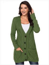 여자 긴 줄 v 목 스웨터 카디건