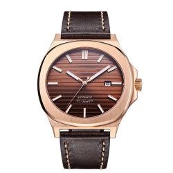 주문 로고 남자 호화스러운 기계적인 상표는 현대 가죽 시계를 본다