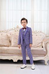 Crianças Vestuário da cor azul Primavera Boy Contratante Plaid Prensa