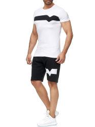 夏の偶然のスポーツのスーツの綿の不足分の袖の人の衣類