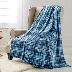Imprimir Manta franela tirar suave para el sofá cama sofá azul, cuadros escoceses, 50x60pulg.