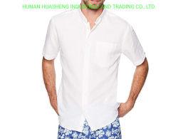 Camisa de algodón de manga corta de lino de ajuste estándar con botones para hombre′ S.