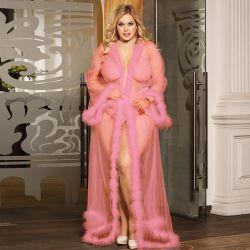 Plus Size Pink Wedding Sexy einzigartige Roben mit Fell
