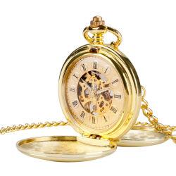 Часы в стиле ретро Vintage гладкий черный автоматический карман с цепь браслет ODM для изготовителей оборудования