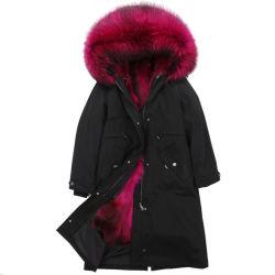 겨울 사치품은 여자의 두건이 있는 Fox 머리 모피 고리 온난한 긴 양털 재킷 눈 외투 Parkas를 두껍게 한다