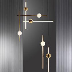 Glasgefäß Kunst-Entwerfer-Leuchter-Metallrod-LED, das hängendes Licht hängt