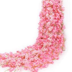 Enlan Hot-Sale Seda decorativos los cerezos en flor de plástico de fiesta de bodas Flores artificiales Vid