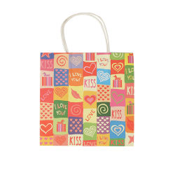 Kundenspezifischer Packpapier-Einkaufstaschebrown-Griff farbiger Geschenk-Papierbeutel