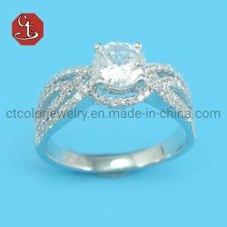 Hermosa Mujer Micro Anillo de ajuste de cera allanar Cubic Zircon deslumbrante anillo nupcial acoplar el anillo de boda