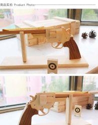 Dl005 Modelo de pistola de juguete de madera de madera juguetes de disparo de pistola de mano regalos de juguetes
