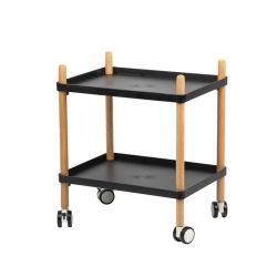 Deux couches de bois en plastique pratique étagère Chariot léger