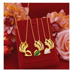 Juwelen van de Jade van de Halfedelsteen van de Halsband van de Tegenhanger van de Goudvis van de Juwelen van de manier 14K de Gouden