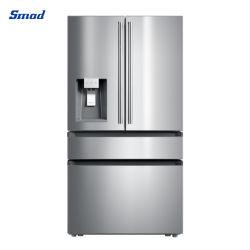 Smad Energy Star Home Appliance Keuken rechtop Roestvast stalen compressor Franse deur koelkast vriezer koelkasten Fabrikanten met ijsmachine water Dispenser
