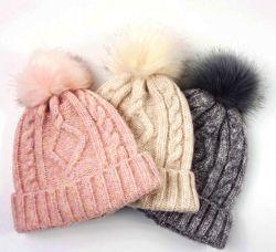 Las mujeres tejer Slouchy Beanie Chunky holgados sombrero con pieles Faux Pom Pom Sombrero de invierno
