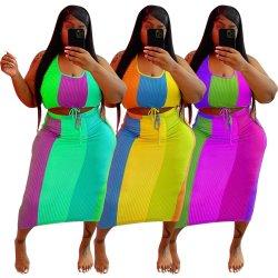 L285563 Dois Conjunto de peça de vestuário das mulheres Plus Size sem mangas cultura coloridos Top e saia longa