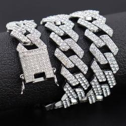 Bling 14K chapado en oro 18K de diamantes CZ Iced out el Hip Hop Cubano Cubano eslabones de cadena de joyas Collar Cadena Cubana de los hombres de la cadena de Cuban Link