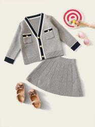 아이들 옷 대조 스웨터 치마와 카디건 아이 착용 아기 형식 옷