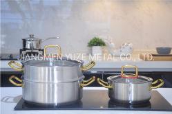 Conjunto de talheres de aço inoxidável, pega com DVP, Casserole Definir, Pot e vaporizador, Ferramenta de cozinha