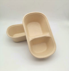 100% biodegradáveis compartimento 2 recipiente para alimentar Microondas 1000ml Bento Caixa com tampa