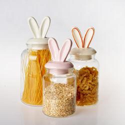 Commerce de gros de la Verrerie bouteille en verre de stockage alimentaire Candy Pot de rangement avec couvercle en céramique hermétique