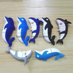 Dolphin Dolphin PVC Shell disque usb disque USB en plastique souple en silicone de modélisation créatrice de poissons disque USB personnalisé de Shell