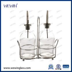 Klimaspeicher-Glas-Flaschen des china-Großverkauf-2PCS Glasstellten mit Eisen-Standplatz-GlaswarenCruet, Gewürz-Glas u. Flasche ein