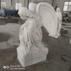 무덤을%s 백색 대리석 웅크리기 각 동상 묘비 천사 조각품