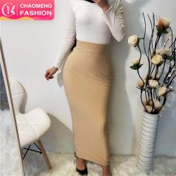 Full Elastic Fashion Black High Waist Bodycon rok Moslimdames Office Wear Long Slim Potlood Maxi Rokken