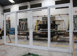 La puerta del patio de aluminio con doble riel Triple puerta corrediza de vidrio templado con mosquitero