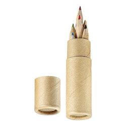 6 PCS para a promoção de lápis de cor curto embalada em caixa de papel artesanal redonda