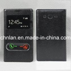 Ouverture de la fenêtre Mode double point de vue de cas de téléphone à rabat en cuir avec couvercle de batterie pour Samsung Galaxy Grand Duos J9082