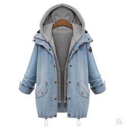 Womens Fashion 2 en 1 Hoodie Denim Veste Gilet décontracté à capuchon Doublure de manteau de denim de transition pour vêtements de dessus13445 ESG