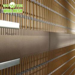 Alumínio cor dourada/SS316 Cabo Metálico Cortina de malha de revestimento de paredes