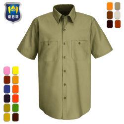 短い袖の多綿のあや織り作業安全ワイシャツ