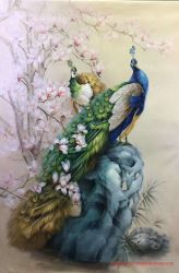 Chinese Peacock Canvas Oil Painting voor Wall Decor