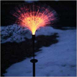 مصابيح LED رائعة من الألياف الضوئية ضوء الحديقة ضوء الشمس يضيء كما هو انفجار في الألعاب النارية في الحديقة