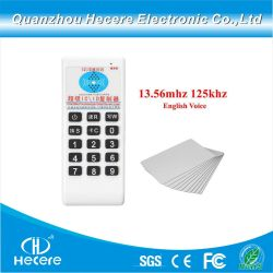 duplicatrice della scheda di identificazione CI di prossimità di 13.56MHz e di 125kHz RFID con la voce inglese