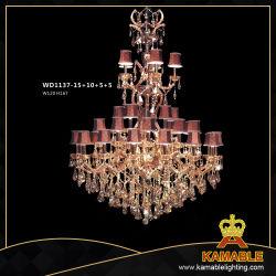 Hotel 5 estrelas de luxo em latão grande lustre de cristal iluminação pendente (WD1137-15+10+5+5)