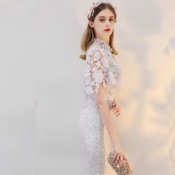 섹시한 Women Lace Embroidery Mermaid 숙녀 백색 구슬 야회복