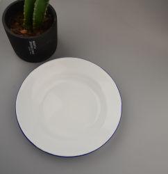 بيضاء مينا لوحة مستديرة معلنة طبق